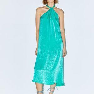 Zara Satin Effect Halter Dress